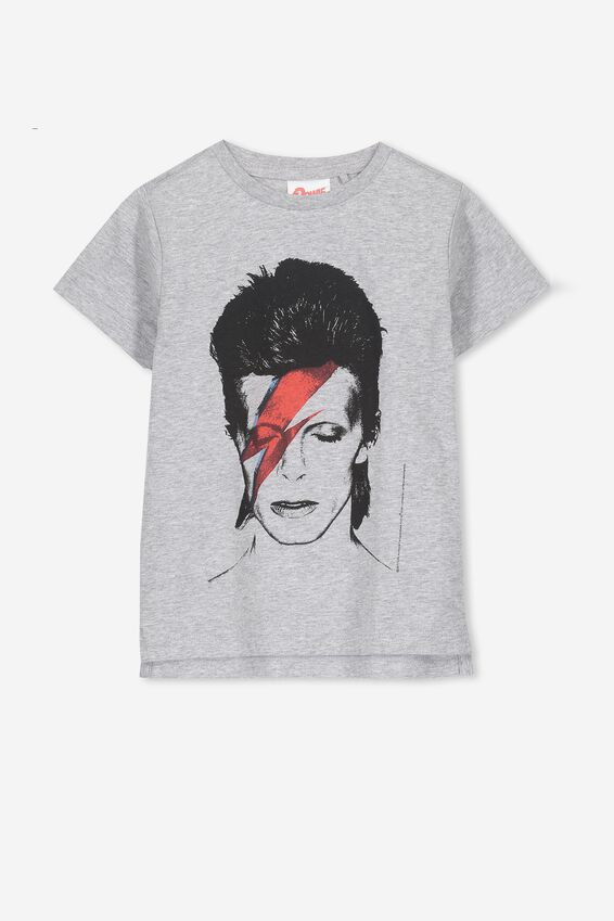 Bowie Short Sleeve Tee, LIGHT GREY MARLE/BOWIE FACE 2