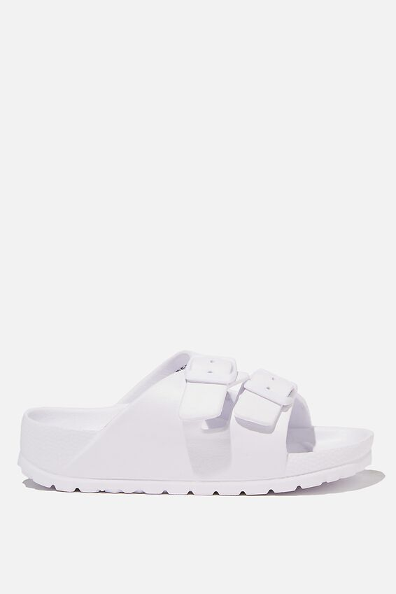 Twin Strap Slide, MATTE WHITE