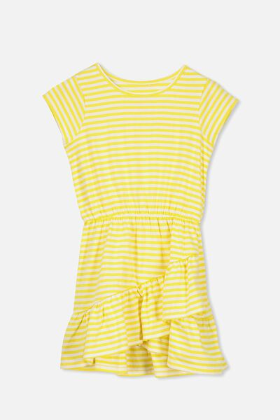 Jessie Short Sleeve Dress, LEMON ZEST /STRIPE