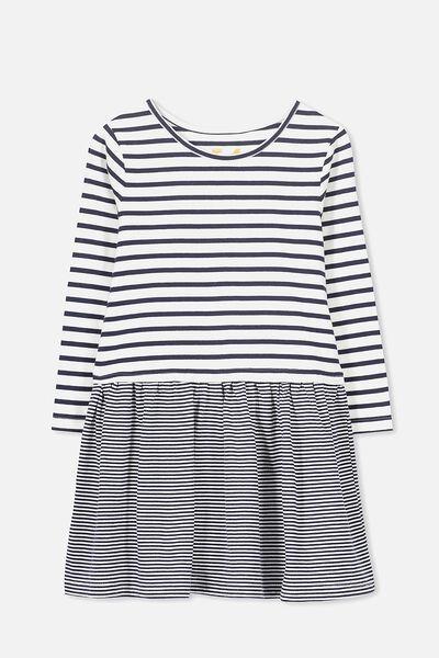Carolin Long Sleeve Dress, PEACOAT/VANILLA STRIPE