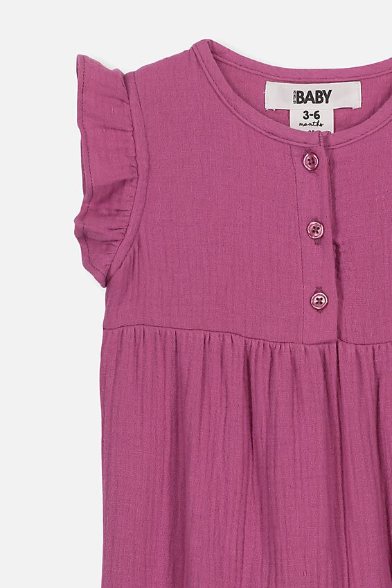 Rosie Ss Ruffle Romper, LOGANBERRY