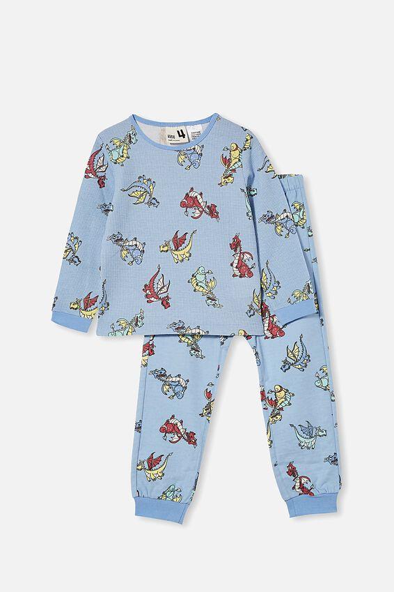 Noah Long Sleeve Pyjama Set, DRAGONS / FROSTY BLUE