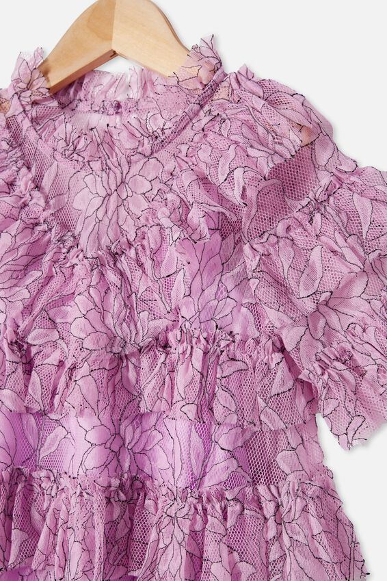 alice McCALL Short Sleeve Ruffle Dress, PALE VIOLET
