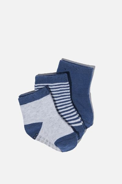 3Pk Baby Socks, BLUE