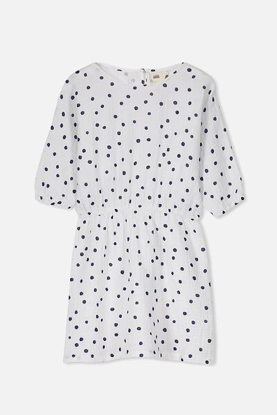 Maisie Long Sleeve Dress, VANILLA/SPOT