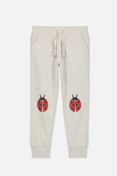 Kikii Trackpant, OATMEAL MARLE/LADY BUG KNEES