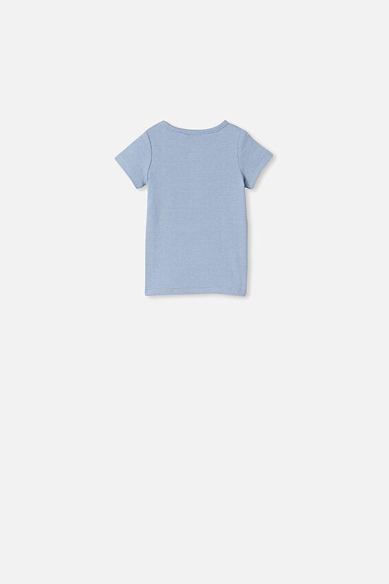 Adam Short Sleeve Placket Top, BENNY STRIPE POWDER PUFF BLUE/DARK VANILLA