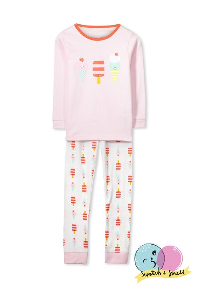 Kristen Long Sleeve Girls PJs, SCRATCH AND SMELL ICE CREAM