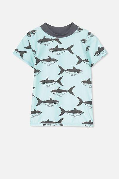 Finley Short Sleeve Rash Vest, ICY AQUA/SHARKS