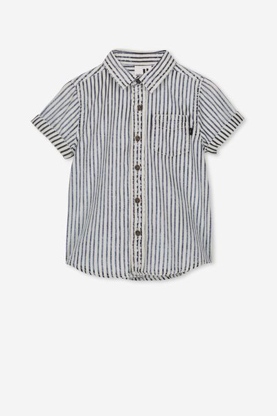 Jackson Short Sleeve Shirt, INDIGO WASHED STRIPE