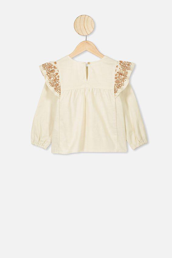Stella Long Sleeve Top, DARK VANILLA/AMBER BROWN EMBROIDERY