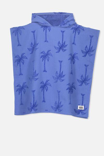 Kids Hooded Towel, BLUE PALM