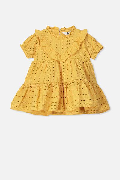 Layla Flutter Sleeve Dress, HONEY GOLD