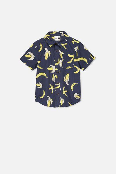 Resort Short Sleeve Shirt, INDIAN INK/BANANAS