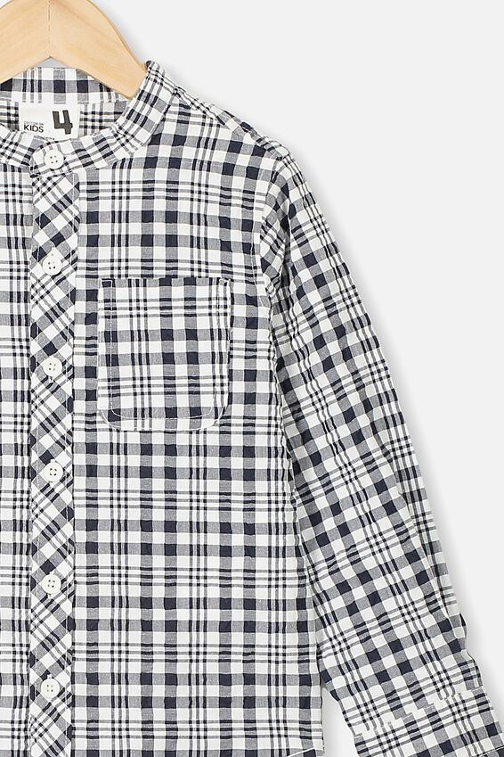 Grandpa Collar Prep Shirt, INDIAN INK CHECK