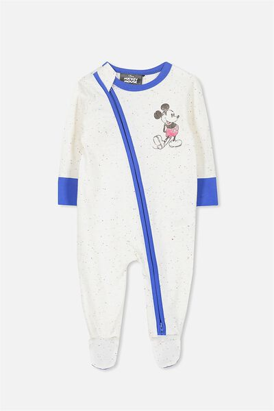 License Snug Zip Through All In One, VANILLA COLOURED FLECK/MICKEY STARTED IT ALL