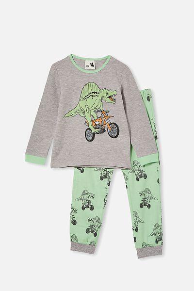 Noah Long Sleeve Pyjama Set, DINO MOTOR / SUMMER GREY MARLE