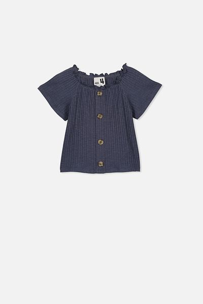 Effie Short Sleeve Button Through Top, VINTAGE NAVY