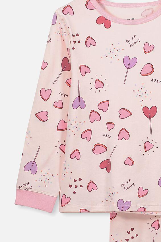 Florence Long Sleeve Pj Set, CRYSTAL PINK/SWEET HEARTS