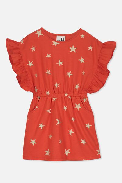 Charlie Dress, ENGINE RED/GOLD STARS