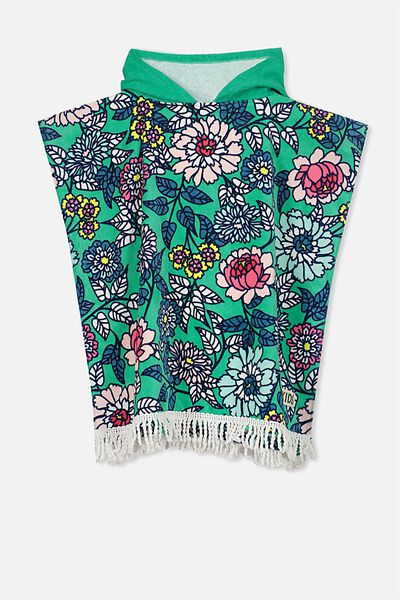Kids Hooded Towel, GREEN FLORAL