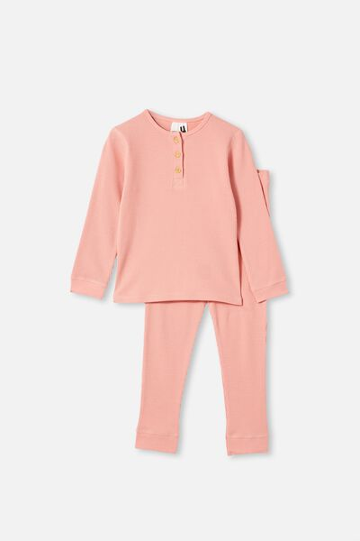 Rachel Waffle Long Sleeve Pyjama Set, SMOKED SALMON