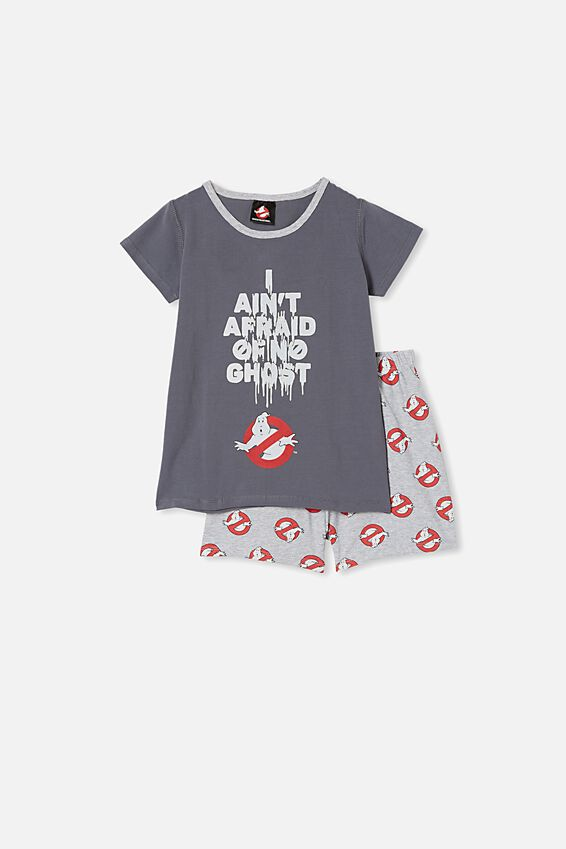 Hudson Short Sleeve Pyjama Set, LCN SON I AIN T AFRAID OF NO GHOST/RABBIT GRE