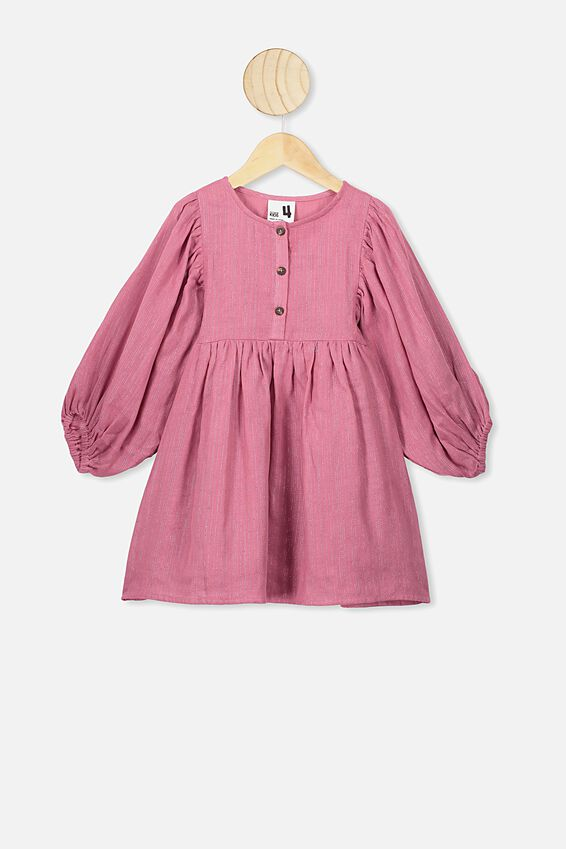 Goldie Long Sleeve Dress, VERY BERRY/PINK SPARKLE STRIPE
