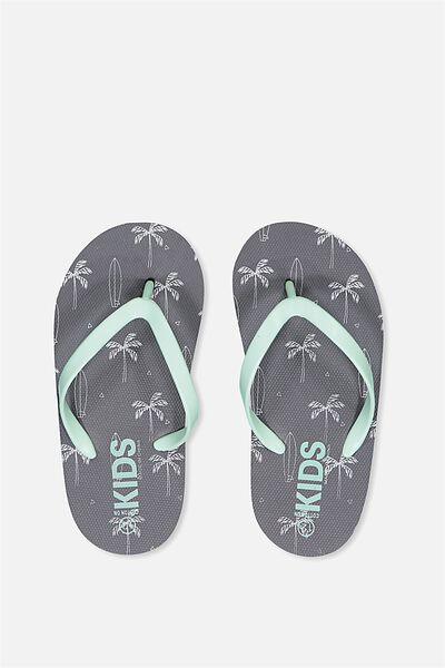 Printed Flip Flop, GRAPHITE PALM TREES