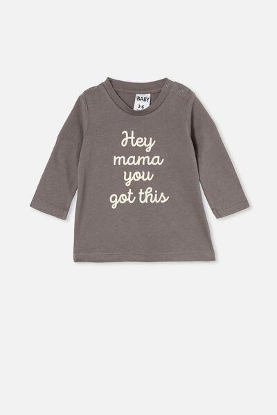 Jamie Long Sleeve Tee, RABBIT GREY/HEY MAMA YOU GOT THIS