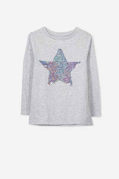 Anna Long Sleeve Split Hem, LIGHT GREY MARLE/REVERSE SEQUIN STAR