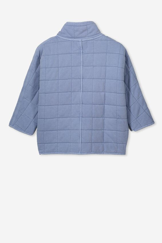 Leah Oversize Quilted Jacket, DUSTY BLUE