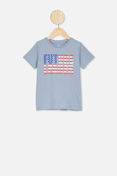 Penelope Short Sleeve Tee, DUSTY BLUE/FUTURE LEADER