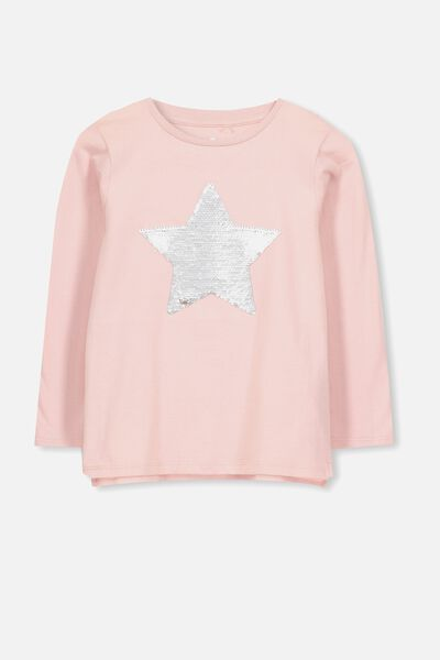 Stevie Ls Embellished Tee, SILVER PINK/ REVERSE SEQUIN STAR