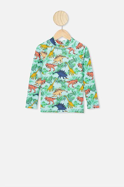 Flynn Long Sleeve Rash Vest, GREEN/DINO