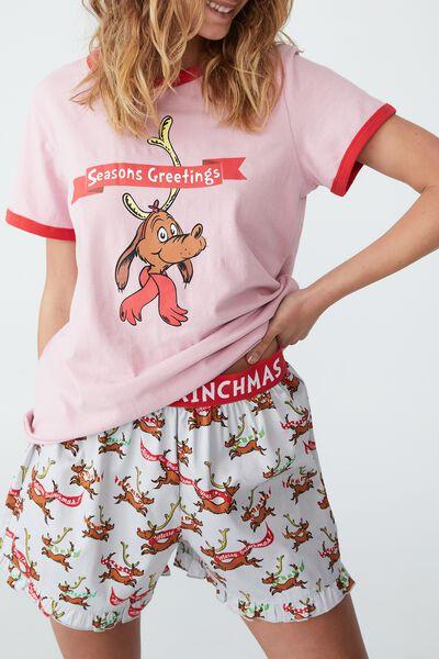 Eve Adults Short Sleeve Pyjama Set Licensed, LCN DRS GRINCH MAX SEASON GREETING LIGHT GREY