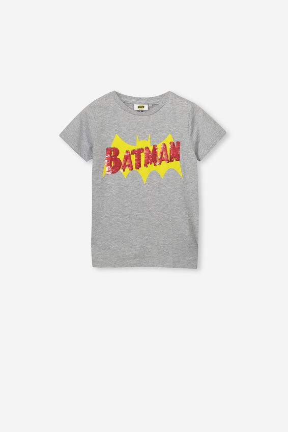 Short Sleeve License1 Tee, LCN WB LIGHT GREY MARLE /REVERSIBLE BATMAN