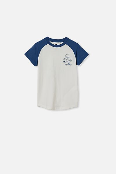 Max Short Sleeve Raglan Tee, PETTY BLUE RETRO WHITE/ROLL WITH IT