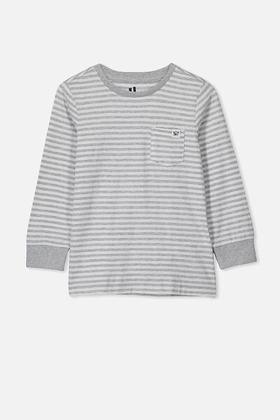 Core Long Sleeve Tee, LIGHT GREY MARLE/WHITE STRIPE