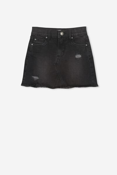 Finn Denim Skirt, WASHED BLACK RIP N REPAIR