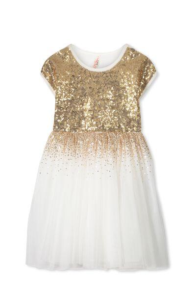 Inga Tulle Dress, VANILLA/GOLD GRADIENT
