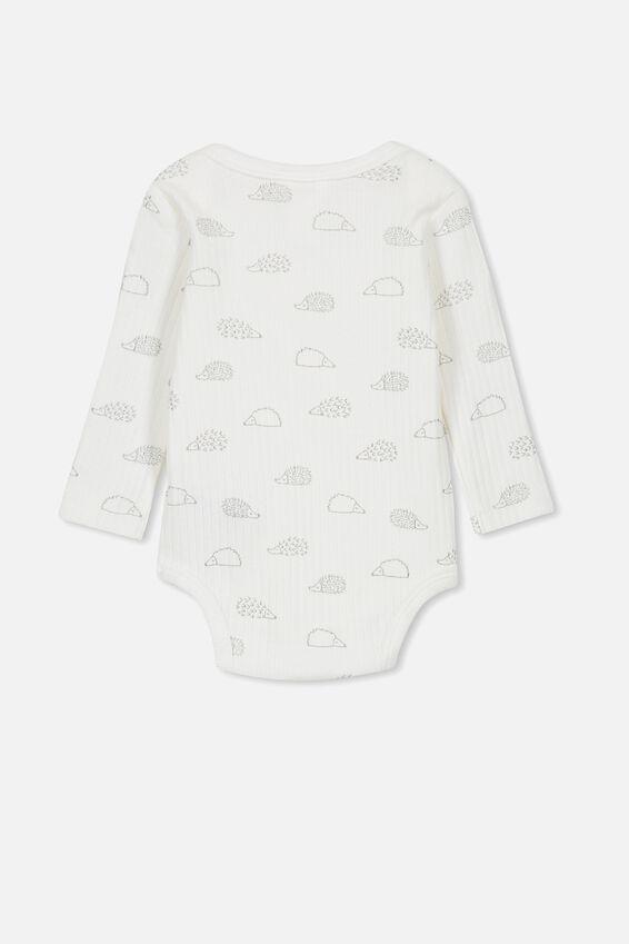 Newborn Long Sleeve Bubbysuit, MILK/HEDGEHOG