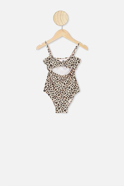 Val Cut Out One Piece, PEACH WHIP/SNOW LEOPARD