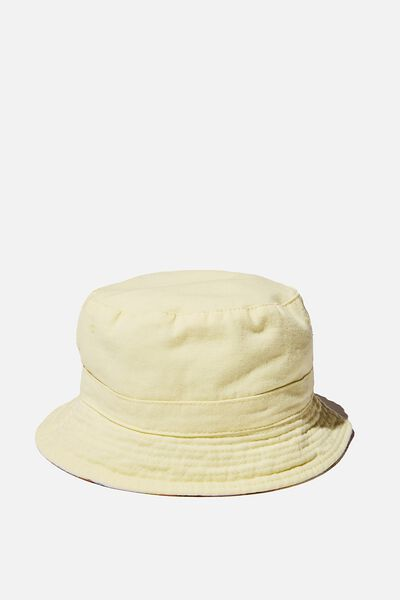 Reversible Bucket Hat, LEMON DROP STRIPE