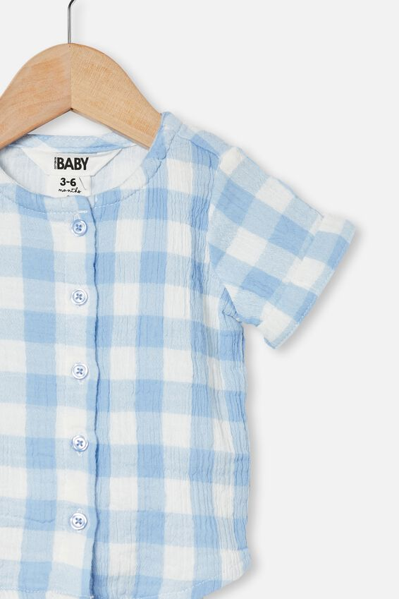 Mike Short Sleeve Shirt, DUSK BLUE/VANILLA MAXI GINGHAM