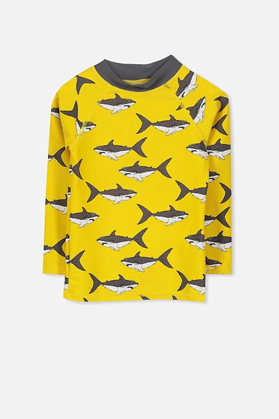 Fraser Long Sleeve Rash Vest, DUNGAREE YELLOW/SHARKS