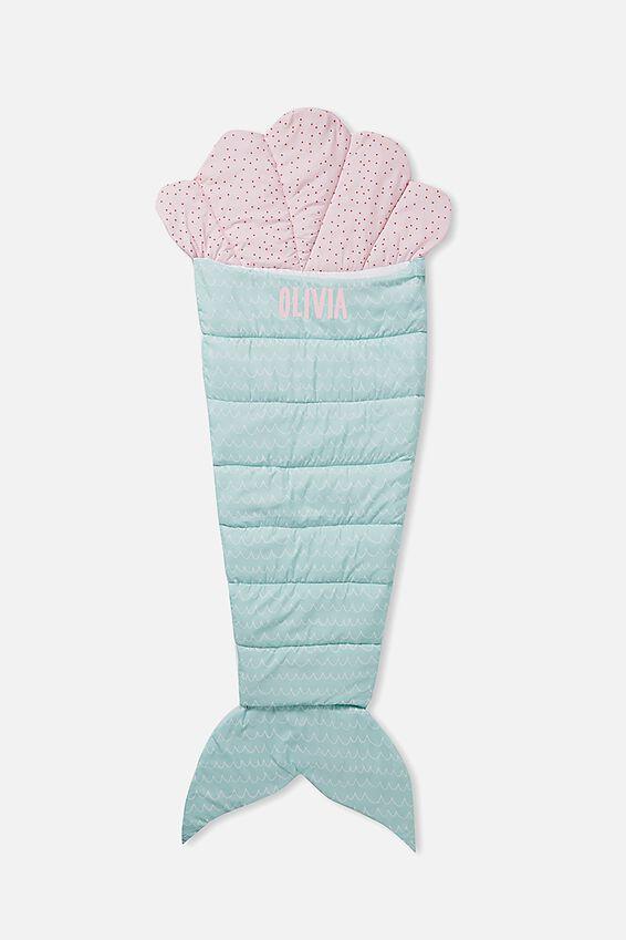 Kids Novelty Sleeping Bag, PINK & GREEN MERMAID PERSONALISED