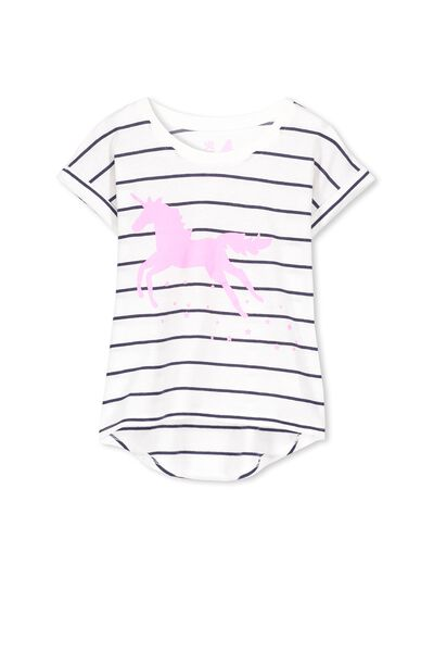 Penelope Short Sleeve Roll Up Tee, VANILLA PEACOAT STRIPE/UNICORN