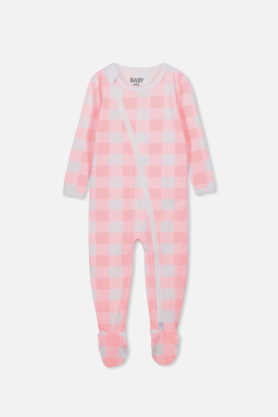 Sleep Mini Zip All In One Jumpsuit, PINK GRAPEFRUIT/WHITE BUFFALO CHECK