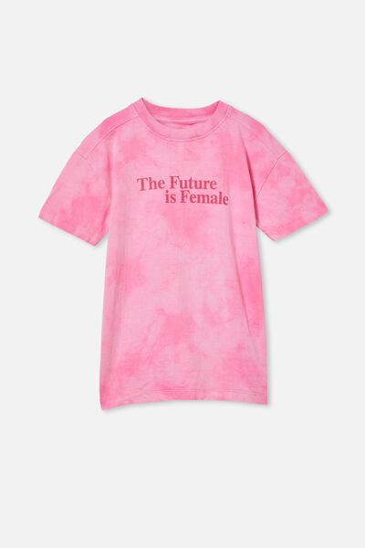 Scout Drop Shoulder Short Sleeve Tee, PINK POP TIE DYE/THE FUTURE IS FEMALE